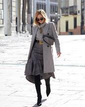 skirt,plaid skirt,midi skirt,grey skirt,gucci belts,over the knee boots,grey coat,gucci belt,grey sweater,turtleneck sweater,belt bag