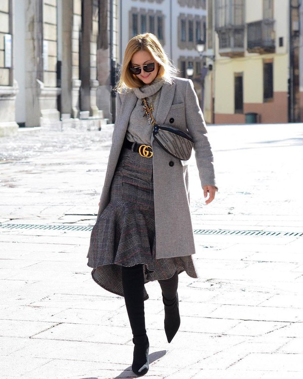 skirt plaid skirt midi skirt grey skirt gucci belts over the knee boots grey coat gucci belt grey sweater turtleneck sweater belt bag