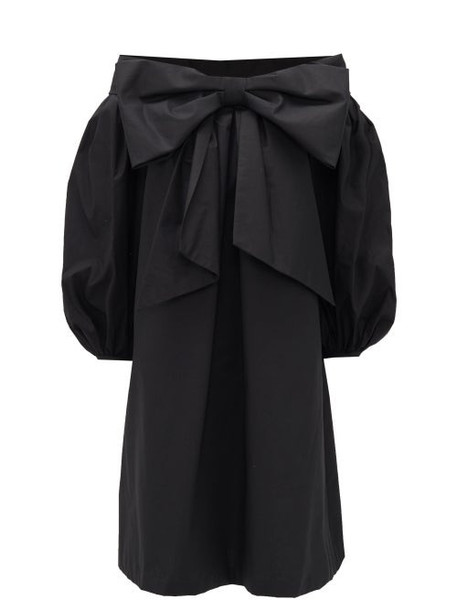 Françoise - Bow-front Off-the-shoulder Cotton Dress - Womens - Black