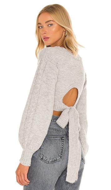 For Love & Lemons Amelia Crop Sweater in Grey