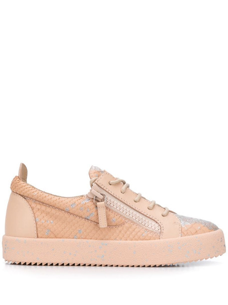 Giuseppe Zanotti Addy snakeskin-effect low-top trainers in pink