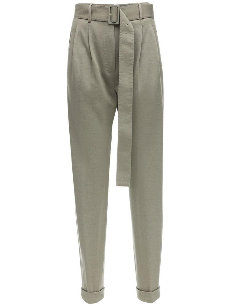 AGNONA High Waist Cashmere Blend Pants W/ Belt in green