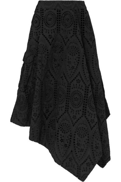 GANNI - Sandrose Asymmetric Broderie Anglaise Cotton Skirt - Black