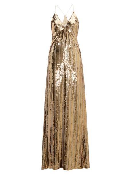 Galvan - Stardust Sequinned Maxi Dress - Womens - Gold