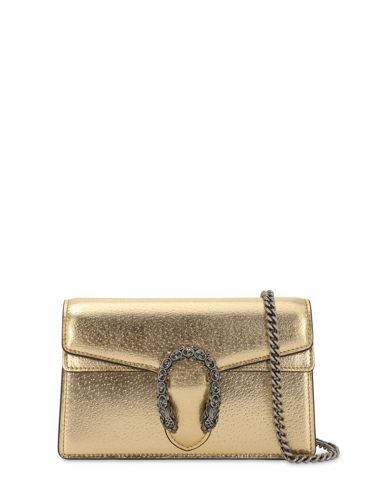 GUCCI Super Mini Dionysus Leather Shoulder Bag in gold