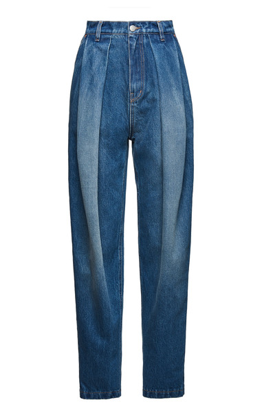 Magda Butrym Pleated High-Rise Jeans in blue