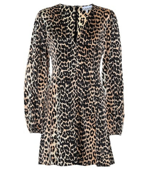 Ganni Leopard-printed silk minidress in brown