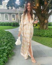bag,white bag,white sandals,maxi dress,floral dress