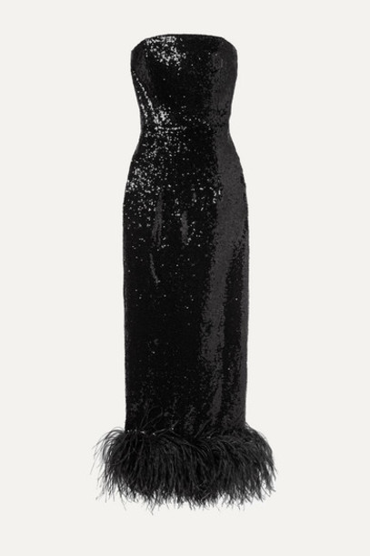 16ARLINGTON - Strapless Feather-trimmed Sequined Tulle Midi Dress - Black