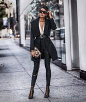 coat,black coat,ankle boots,heel boots,high waisted pants,black skinny jeans,bag,black belt,white blouse