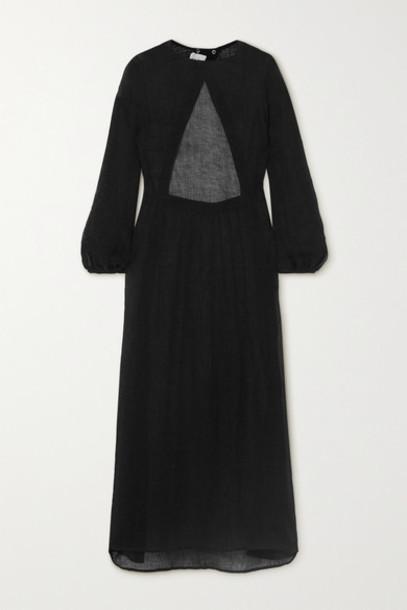 Le Kasha - Open-back Linen Maxi Dress - Black