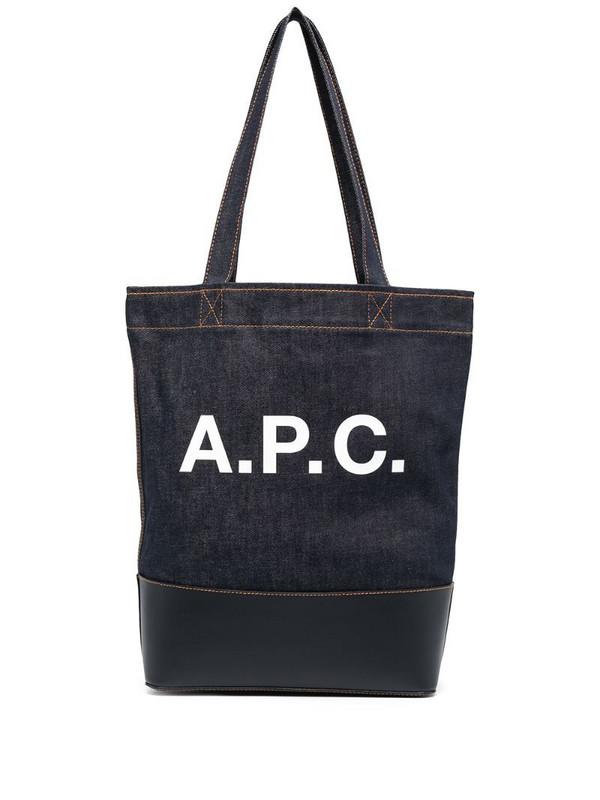 A.P.C. logo denim tote in blue