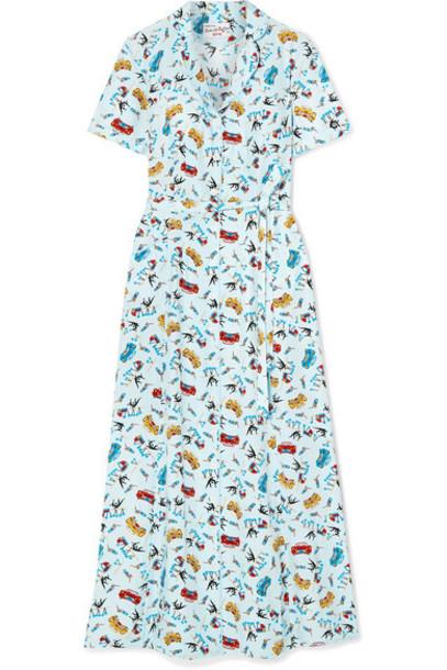 HVN - Maria Printed Silk Crepe De Chine Dress - Sky blue