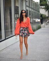 top,long sleeves,wrap top,ruffle,sandal heels,floral skirt,mini skirt,bag