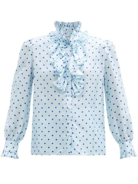 Rodarte - Ruffled Polka-dot Satin Dress - Womens - Blue Multi