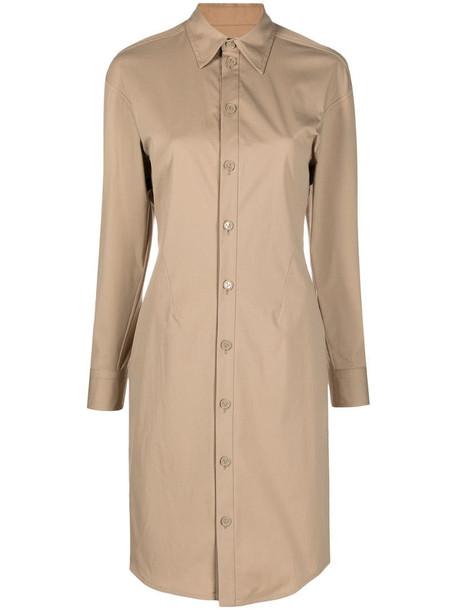 Bottega Veneta button-up shirt dress in neutrals