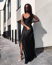 dress,maxi dress,slit dress,slip dress,sandals,date outfit