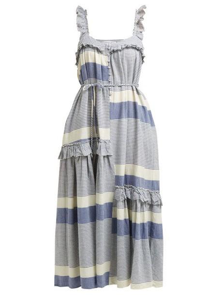 Apiece Apart - Lypie Stripe Ruffle Sleeve Maxi Dress - Womens - Blue White