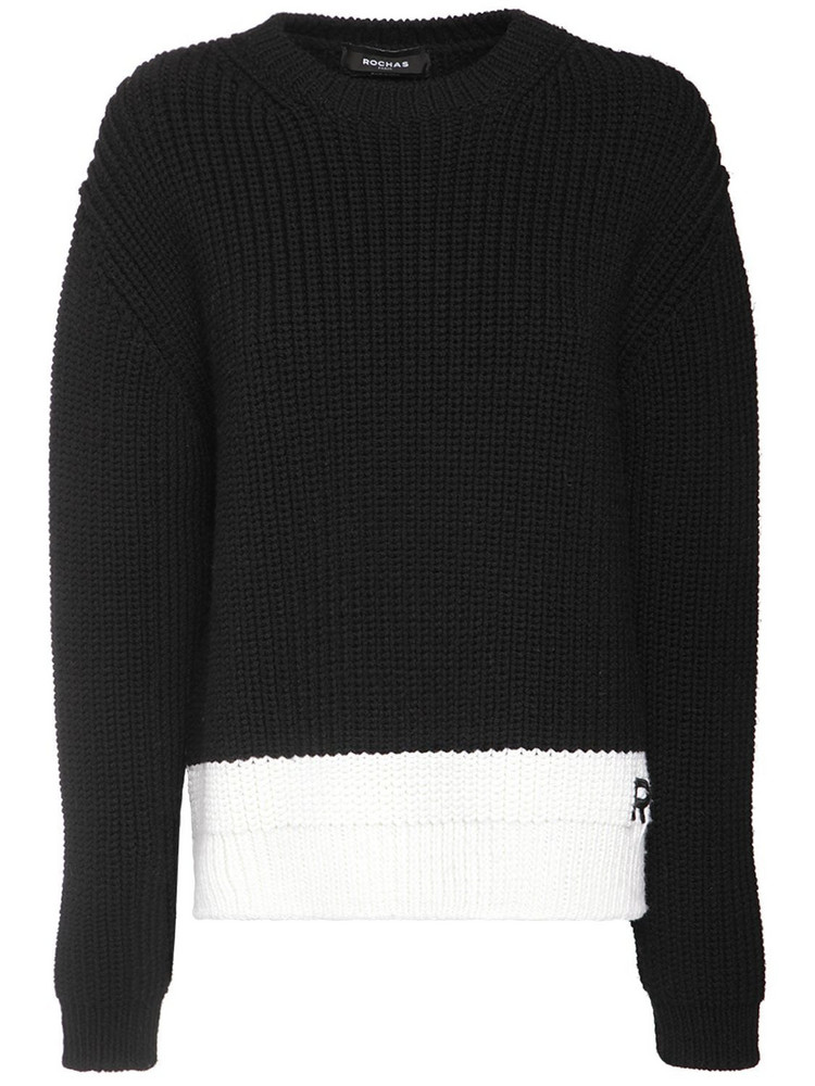ROCHAS Rib Knit Wool Sweater W/ Logo Detail in black / white