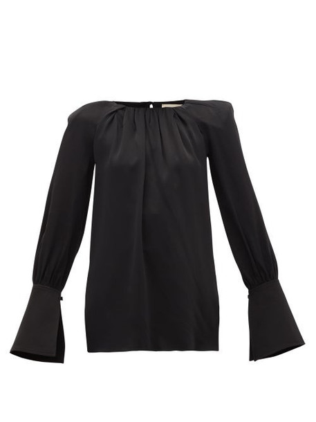 Khaite - Kirsty Wide-cuff Cutout Satin Blouse - Womens - Black