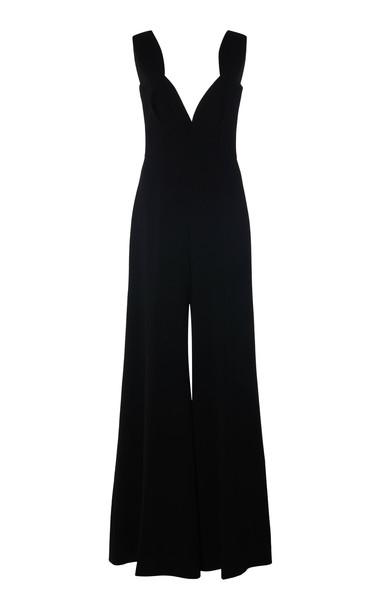 Emilia Wickstead Rosabel Stretch-Crepe Wide-Leg Jumpsuit Size: 6 in black