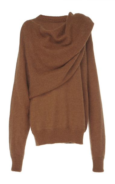 Rejina Pyo Colette Oversized Draped Mohair Sweater Size: XS in brown