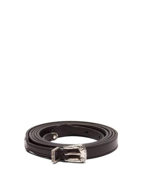 Saint Laurent - Double Wrap Skinny Leather Belt - Womens - Black