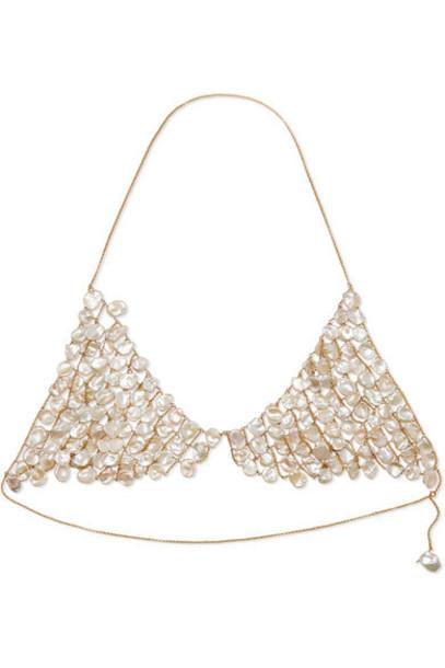 Alighieri - Gold-plated Pearl Triangle Bra - White