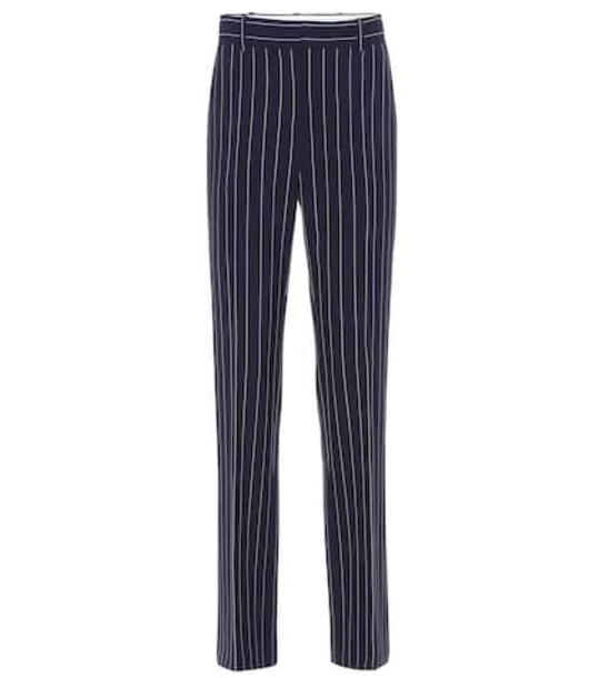 See By Chloé Striped high-rise slim pants in blue