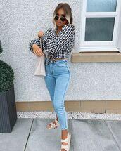 jeans,skinny jeans,plaid shirt,crop tops,flat sandals,shoulder bag