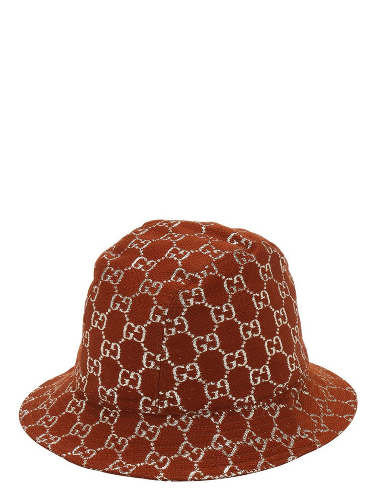 GUCCI Gg Wool Lamé Bucket Hat in brown