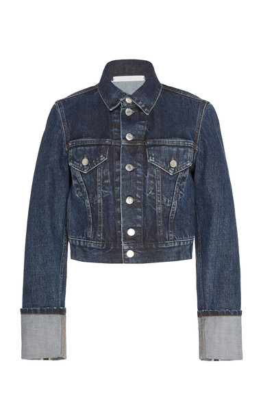 Helmut Lang Cropped Dark Wash Denim Jacket