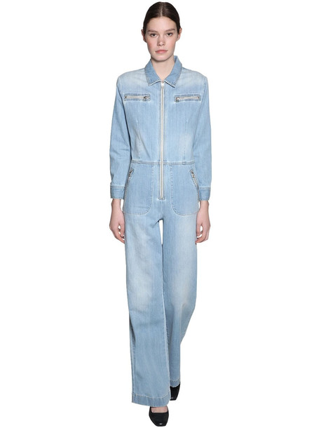 ALEXA CHUNG Cotton Blend Denim Jumpsuit in blue
