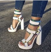 shoes,white,white shoes,heels,platform shoes,platform sandals,green,gold,holographic,iridescent,reflective,yellow,jeans,blue,blue jeans,strappy heels,buckles