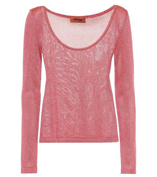 Missoni Metallic knitted top in red
