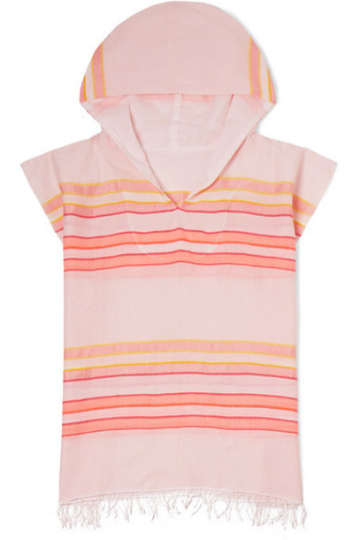 LemLem Kids - Eskedar Frayed Striped Cotton-blend Gauze Poncho - Pink