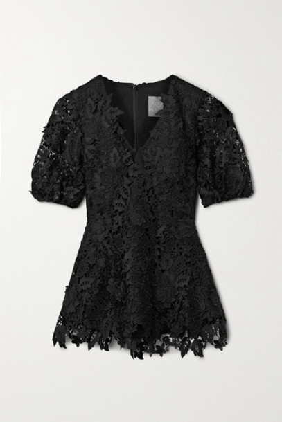 Lela Rose - Embroidered Guipure Lace Blouse - Black