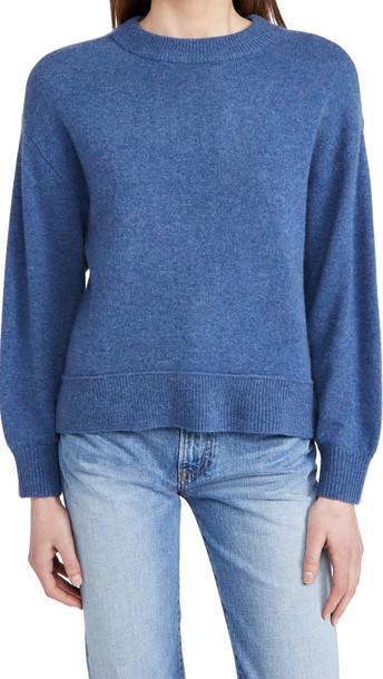 alice + olivia alice + olivia Denver Round Hem Cashmere Sweater in chambray