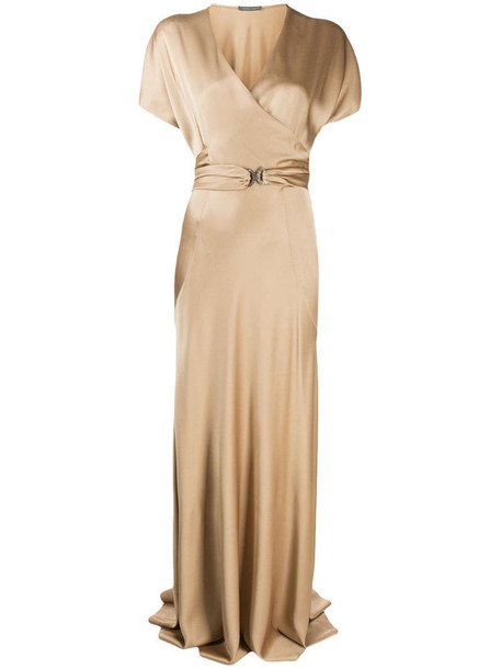 Alberta Ferretti belted wrap front gown in neutrals
