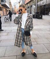 coat,trench coat,plaid,black loafers,mules,cropped jeans,black bag,turtleneck sweater,ripped jeans,nastygal