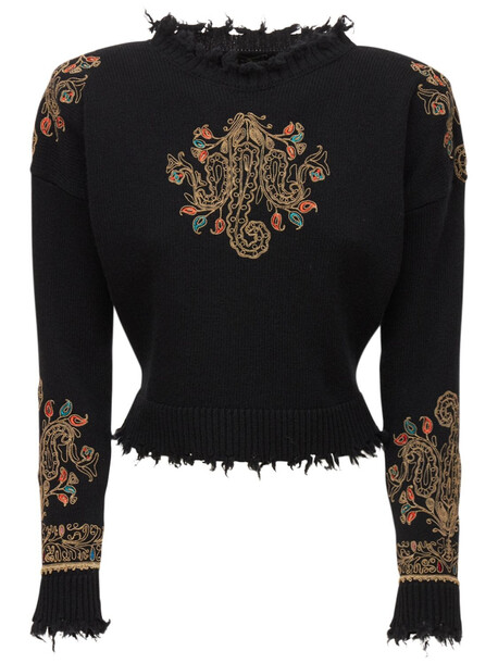 ETRO Wool  Knit Embroidered Crewneck Sweater in black / multi