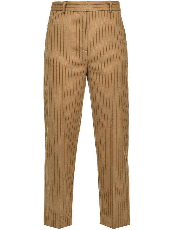 Pinko pinstripe tapered trousers in brown
