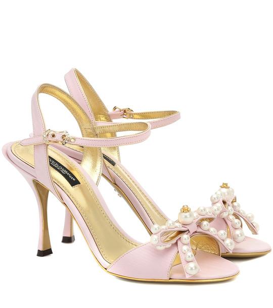Dolce & Gabbana Keira 85 embellished moiré sandals in pink