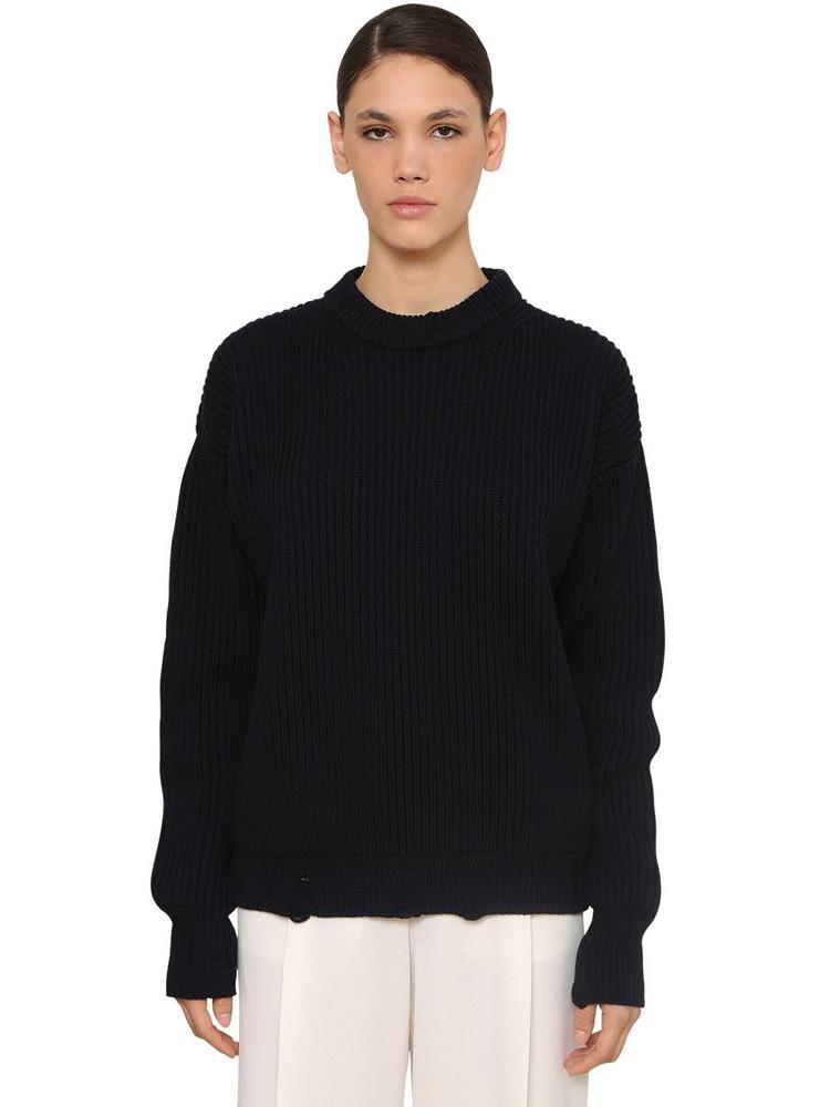 NINA RICCI Crewneck Wool Knit Sweater in blue