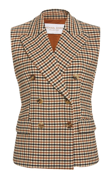 Michael Kors Collection Double-Breasted Gabardine Vest in multi
