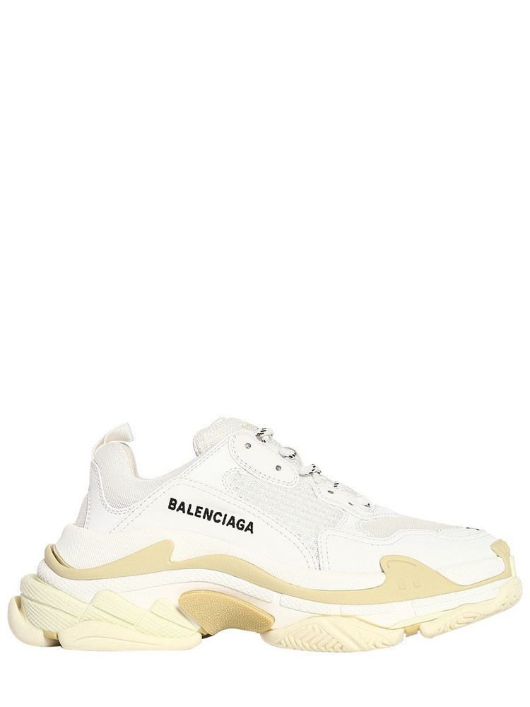 BALENCIAGA 60mm Triple S Faux Leather Sneakers in white