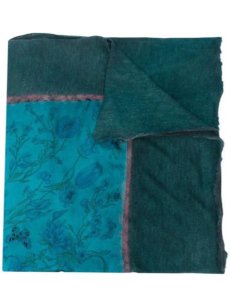 Avant Toi frayed printed scarf in blue