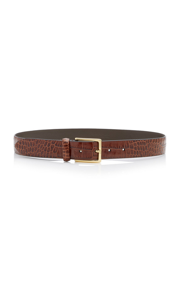 Anderson's Croc-Effect Glazed Leather Belt Size: 65 cm in brown