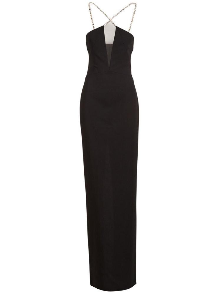 AZZARO Stretch Viscose Crepe Halter Neck Dress in black