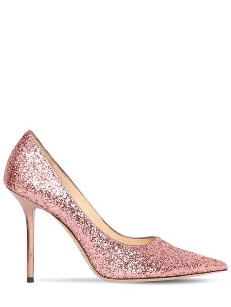 JIMMY CHOO 100mm Love Glittered Pumps in pink